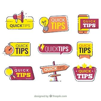 Tips labelscollectie in vlakke stijl