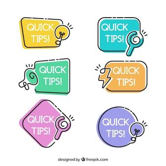 Tips labelverzameling met plat ontwerp