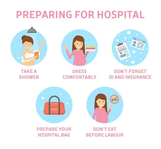 Tips voor aanstaande moeder om zich voor te bereiden op het ziekenhuis. gids voor zwangere vrouwen vóór de geboorte van een kind. voorbereiding op de bevalling van de baby. moederschap en gezondheidszorg. geïsoleerde platte vectorillustratie