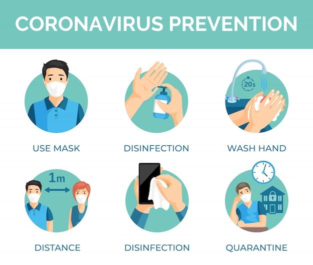 Tips voor coronaviruspreventie. beschermingsmaatregelen tijdens wereldwijde pandemie van covid-19-illustratie.