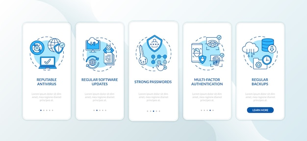 Tips voor cyberhygiëne bij het onboarding van het paginascherm van de mobiele app met concepten