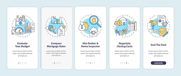 Tips voor de eerste keer dat een huizenkoper werkt bij het onboarding van het scherm van de mobiele app met concepten.