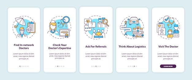 Tips voor eerstelijnsarts kiezen voor het onboarding van het mobiele app-paginascherm met concepten