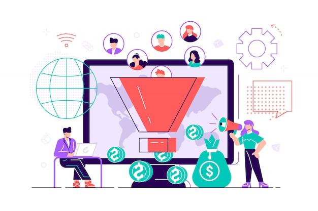 Tips voor het genereren van inkomsten. strategie voor conversieratio's verhogen. volgers aantrekken. nieuwe leads genereren, uw klanten identificeren, smm-strategieënconcept. helder levendige violet geïsoleerde illustratie