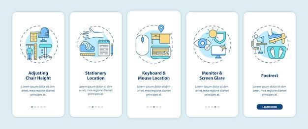 Tips voor kantoorergonomie voor het onboarding van het paginascherm van de mobiele app met concepten