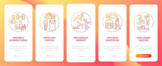 Tips voor lichaamsbeweging thuis op het scherm van de mobiele app-pagina met concepten. gymkleding, routinetrappen om af te koelen. ui-sjabloonillustraties