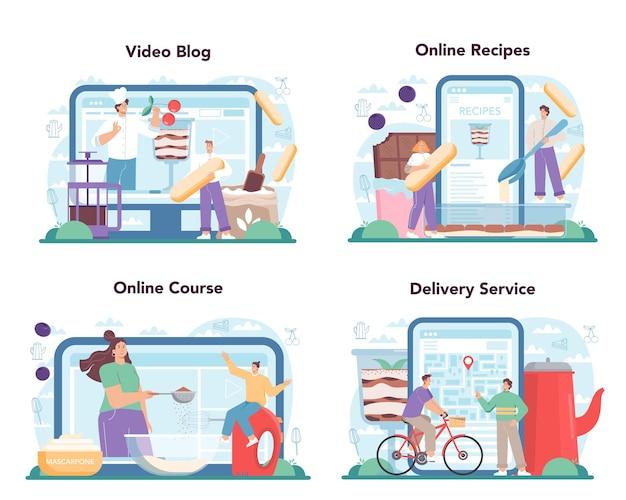 Tiramisu-dessert online service of platform stelt mensen in staat heerlijk te koken