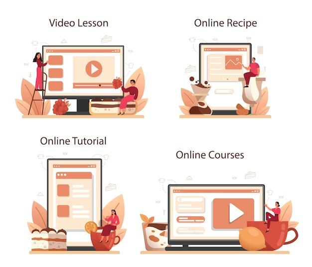 Tiramisu-dessert online service of platformset. mensen die heerlijke italiaanse cake koken. geïsoleerde illustratie in cartoon-stijl