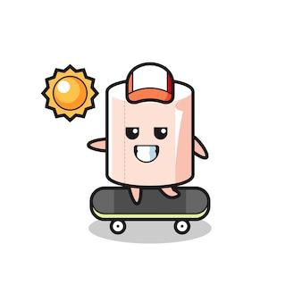 Tissue roll karakter illustratie rijden op een skateboard, schattig ontwerp