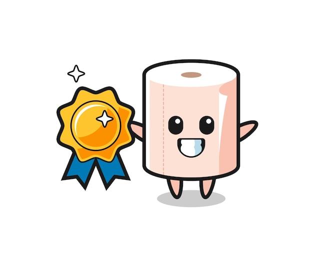 Tissue roll mascotte illustratie met een gouden badge, schattig ontwerp