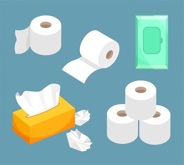 Tissuepapier set, vochtige doekjes, toiletpapier op rol. gebruik voor toilet, badkamer, keuken.