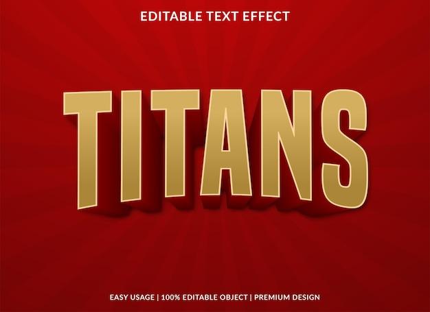 Titanen teksteffectontwerp met gewaagde stijl