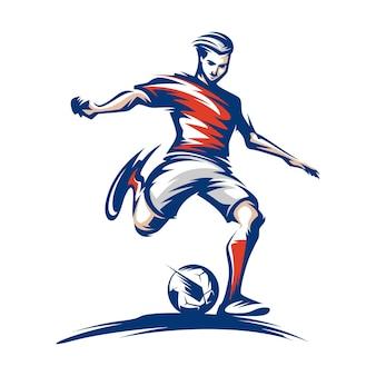 Titel voetballer schoppen bal