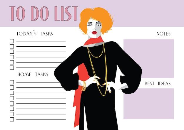 To do lijst met mode vrouw in stijl pop art.