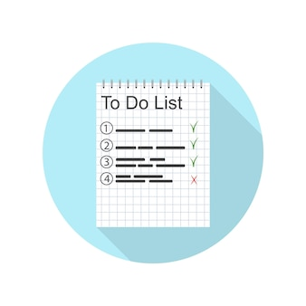 To-do lijst voor de dag. een werkplan. belangrijke vermeldingen in het notitieboek. gedaan. pictogramontwerp voor tijdbeheer. de planningstaak. vector illustratie.