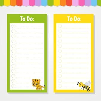 To do lijst voor kinderen. lege sjabloon. jaguar en bij. de rechthoekige vorm. grappig karakter. cartoon-stijl. voor het dagboek, notitieboekje, bladwijzer.
