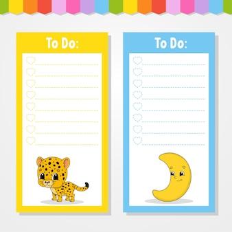 To do lijst voor kinderen. lege sjabloon. jaguar en halve maan. de rechthoekige vorm. grappig karakter. cartoon-stijl. voor het dagboek, notitieboekje, bladwijzer.