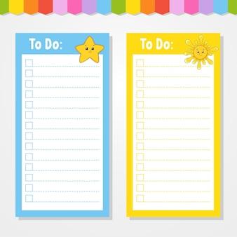 To do lijst voor kinderen. lege sjabloon. ster en zon. de rechthoekige vorm. grappig karakter. cartoon-stijl. voor het dagboek, notitieboekje, bladwijzer.