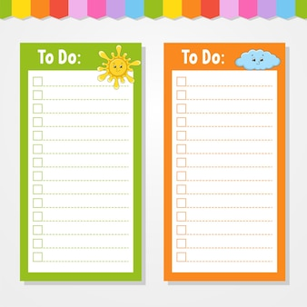 To do lijst voor kinderen. lege sjabloon. zon en wolk. de rechthoekige vorm. grappig karakter. cartoon-stijl. voor het dagboek, notitieboekje, bladwijzer.
