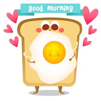 Toast en ei achtergrond ontwerp