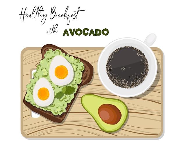 Toast met avocado en gekookt ei, kopje koffie.