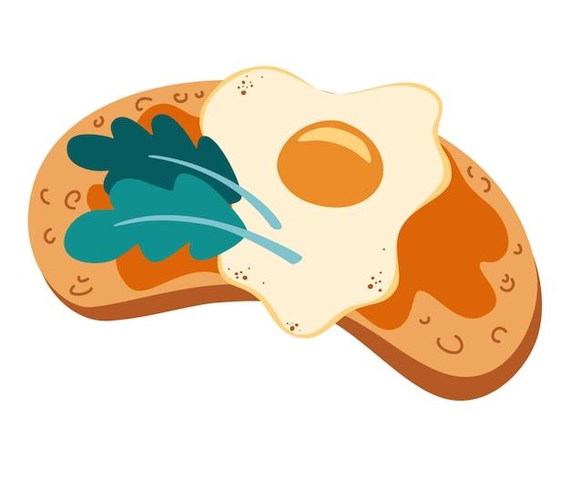 Toast met ei en kruiden. heerlijk ontbijt. gezond eten. brood met roerei. vegetarisch broodje. vectorillustratie geïsoleerd op een witte achtergrond