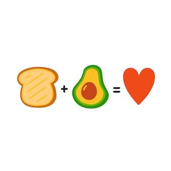 Toast plus avocado is gelijk aan liefde. leuke grappige poster, kaartillustratie. vector cartoon afbeelding pictogram. geïsoleerd op een witte achtergrond. toast met avocado, grappige wiskundige vergelijking, concept