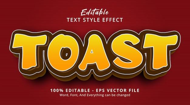 Toast tekst op modern gradiëntvoedselstijleffect, bewerkbaar teksteffect