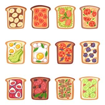 Toast vector gezond geroosterd voedsel met broodgroenten en fruit of ei snack voor ontbijt illustratie set van heerlijk broodje met gesneden tomaat en gesneden worstjes geïsoleerd