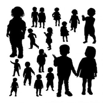 Toddler gebaar silhouetten.