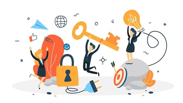 Toegang concept. gegevensbescherming en privacy van persoonlijke informatie op internet. illustratie