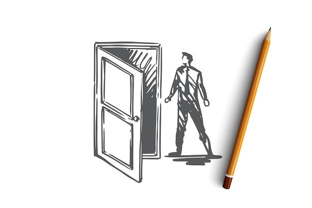 Toegang, deur, openen, invoeren, bedrijfsconcept. hand getekende man in de buurt van open deur concept schets.