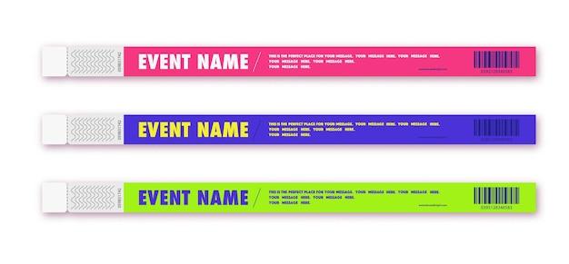 Toegang tot armbandevenement in verschillende kleuren voor id-fanzone of vip-feestingang concert backstage
