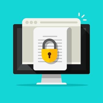 Toegang tot documentbestand online vector platte pictogram vertrouwelijke veilige speciale toestemming op computer pc illustratie vergrendeld