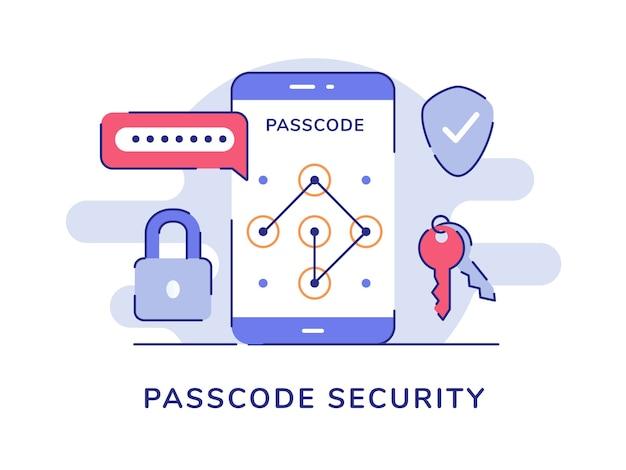 Toegangscode beveiliging wachtwoord hangslot sleutel schild geïsoleerde achtergrond