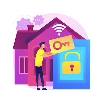 Toegangscontrole systeem abstracte concept illustratie. toegangsbeperkingssysteem, biometrische controle-oplossing, beveiligingsbeheersoftware, vingerafdruklezertechnologie.