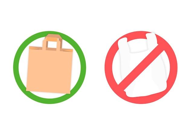 Toegestane papieren zak en verboden plastic zakken. geen afval, geen plastic. papieren zak tegen niet afbreekbaar plastic. vector illustratie