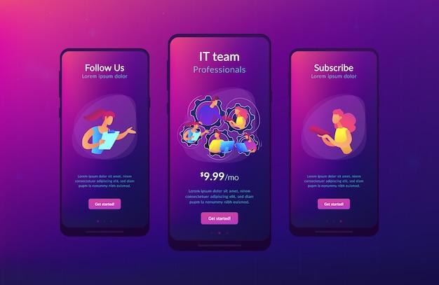 Toegewijd team it app-interfacemalplaatje