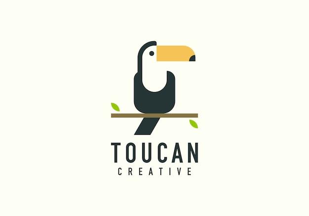 Toekan vogel vorm platte logo