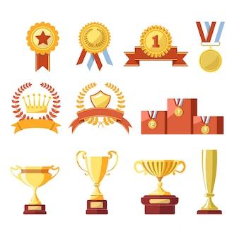 Toekenning van kampioen gouden beker of bekerprijs