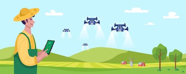 Toekomst van de landbouw, jonge landbouwer die drone in werking stelt om meststof op het groene gebied, illustratie te bespuiten