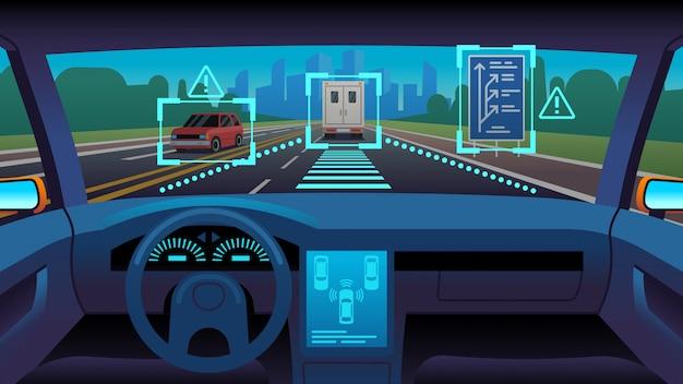 Toekomstig autonoom voertuig. driverless auto-interieur futuristische autonome stuurautomaat sensorsysteem gps weg, cartoon concept