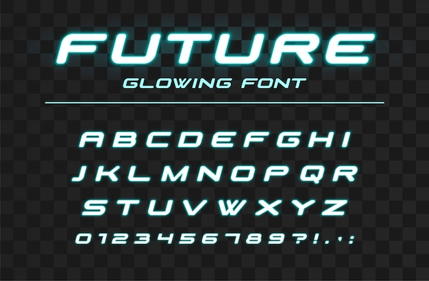 Toekomstig gloeiend lettertype. snelle sport, futuristisch, technologie-alfabet. neon letters en cijfers voor high-speed, industrieel, hi-tech logo ontwerp