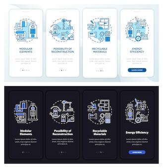 Toekomstig kantoorgebouw onboarding mobiele app paginascherm met concepten