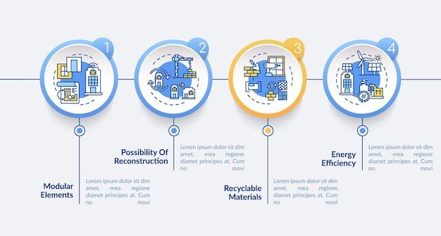 Toekomstig kantoorgebouw vereist vector infographic sjabloon. recycle, efficiëntie presentatie ontwerpelementen. datavisualisatie met 4 stappen. proces tijdlijn grafiek. workflowlay-out met lineaire pictogrammen