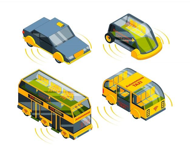 Toekomstig onbemand voertuig. autonoom vervoer auto's bussen vrachtwagens en treinen zelfbeheersing auto robot systeem isometrisch