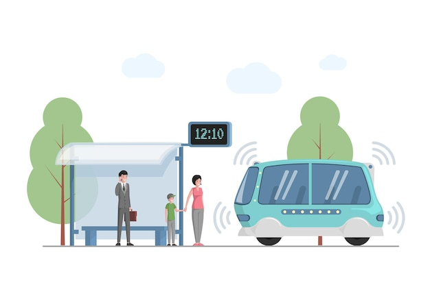 Toekomstig openbaar expresvervoer in stad vector vlakke afbeelding mensen
