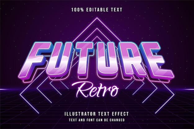 Toekomstig retro bewerkbaar teksteffect met blauwe gradatie