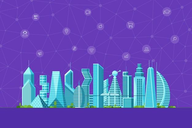 Toekomstig slim stadsconcept. stedelijke stadsgezicht hedendaagse wolkenkrabber gebouwen met infographic sociale media internet communicatie netwerk pictogrammen. futuristische herenhuis architectuur vectorillustratie