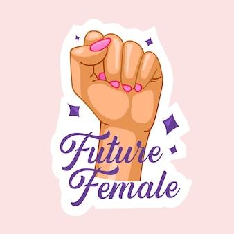 Toekomstig vrouwelijk citaat met opgeheven vuist. girl power, women strength, feminist slogan